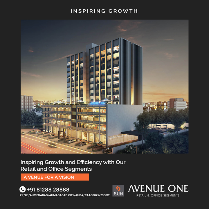 There's always Room for Improvement and we are providing Flexible Spaces having room for Optimum Spaces that suit your needs so that you can Work in Satisfaction. Providing 4 Storeys of Engaging Retail and 9 levels of multiple configurations of Office Segments to Ensure more Efficiency.  #SunAvenueOne #Ahmedabad #SunBuildersGroup #Gujarat #RealEstate #SunBuilders #Manekbaug #Offices #Commercial #Retail