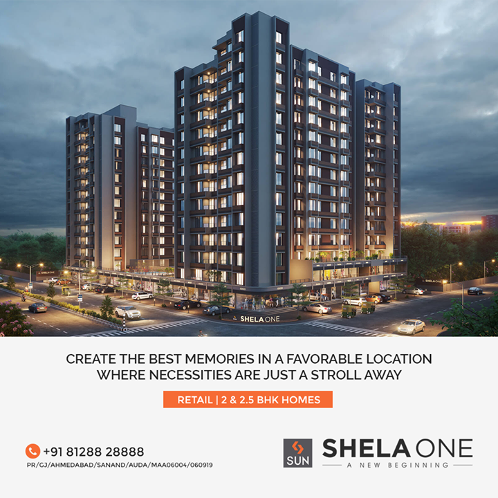 Shela One marks a new beginning of your Life. Make your greets and meets more fun in this festive season! Come close to your Family and Experience Togetherness in this Busy World. Turn our 2 & 2.5 BHK Houses into Homes with your Laughter and Memories. Our Well Planned Infrastructure and Close-by Amenities ensure an Easy, Enjoyable and Aesthetic Living.  #Shela #Ahmedabad #retail #residential #SunShelaOne #SunBuildersGroup #Gujarat #RealEstate #SunBuilders