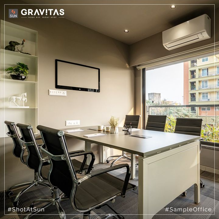 Sun Gravitas' Show Office is ready to host you. Feel the conducive environs as you step into the office spaces which are extremely well positioned and offers all the gravitas your commercial venture requires.   For Details Call: +91 987932058  Architect: @hm.architects Location: Shyamal Cross Road Status: Possession Dec 2021  #SunBuildersGroup #SunBuilders #SunGravitas #SampleOffice #ShotAtSun #CommercialSpace #Offices #Retail #Showrooms #BuildingCommunities #SmartInvestment #ShyamalCrossRoad #RealEstateAhmedabad