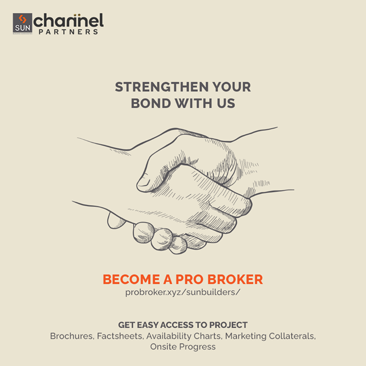 Let's collaborate to grow in together in the real estate spectrum. Probroker is one fine opportunity for all the real estate brokers to expand their business with new opportunities.  Be a Pro Broker to get fast and easy access to Sun Builders Group's Project Brochures, Factsheets, Availability Charts, Marketing Collaterals and Onsite Progress.  Register today on https://probroker.xyz/sunbuilders/signup.php  #ProBrokers #ChannelPartners #Brokers #SunBuildersBrokers #SunBuildersGroup #SunBuilders #RealEstate #Ahmedabad #RealEstateGujarat #Gujarat