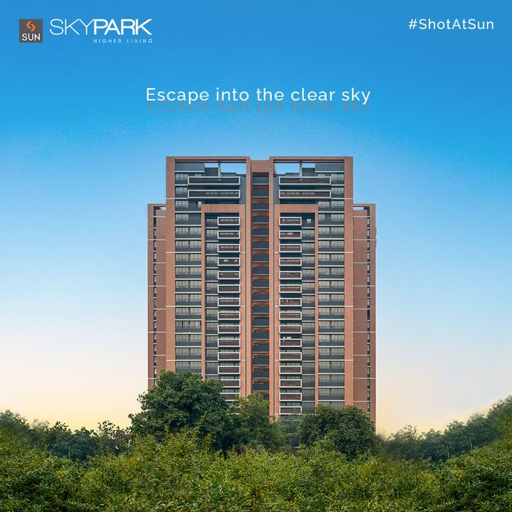 3 & 4 BHK Luxurious Homes at Sun Sky Park hosts the joy of living in the clouds.  Be in the middle of everything, and escape into the clear sky as you change your perspective on the meaning of luxury and connectivity at Bopal.  #SunSkyPark #SkyPark #SunBuilders #SunBuildersGroup #Ahmedabad #Residential #Bopal #Ambli #ShotAtSun #LuxuryHomes #3BHK #4BHK #CompletedProject #BuildingCommunities #RealEstateAhmedabad