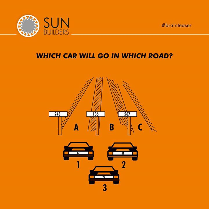 Let's see who can solve this puzzle. Can you tell which car will go in which road? Comment your answer below! Car 1 – 17, Car 2 – 81, Car 3 - 27 Hint: Find the combination that gives perfect zeroes. #brainteaser