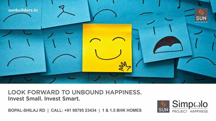 Unleash the happiness that holds for you in the future. Sun Builders presents Sun Simpolo - 1 & 1.5 BHK homes are smartly constructed to make an ideal home for you.   #SunSimpolo #ProjectHappiness  Explore more here: http://sunbuilders.in/GAdwords/