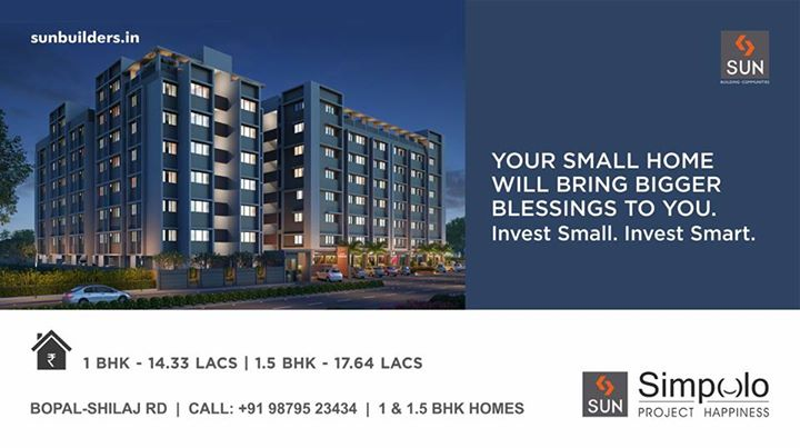 Bringing to you a blessing that is not in disguise. Invest smartly in Sun Simpolo - 1 & 1.5 BHK homes smartly constructed in the developing location of Bopal-Shilaj road.  #SunSimpolo #ProjectHappiness  For inquiry visit: http://goo.gl/ebP3Ul