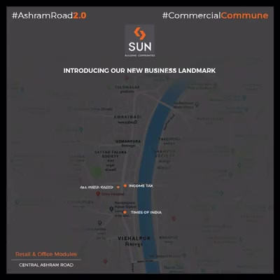 A new business landmark at a noteworthy location.  #SunBuilders #RealEstate #WestBank #SunWestBank #Ahmedabad #Gujarat #SunBuildersGroup #AshramRoad2point0 #commercialcommune #ComingSoon #NewProject