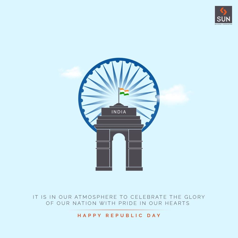 It is in our atmosphere to celebrate the glory of our nation with pride in our hearts  Happy Republic Day!  #HappyRepublicDay #RepublicDayIndia #RepublicDay2021 #India #JaiHind #SunBuildersGroup #SunBuilders #RealEstate #Ahmedabad #RealEstateGujarat #Gujarat
