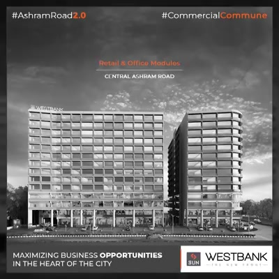 An ideal platform for varied businesses with offices starting from 400sq.ft!  #SunBuilders #RealEstate #WestBank #SunWestBank #Ahmedabad #Gujarat #SunBuildersGroup #AshramRoad2point0 #commercialcommune #ComingSoon #NewProject