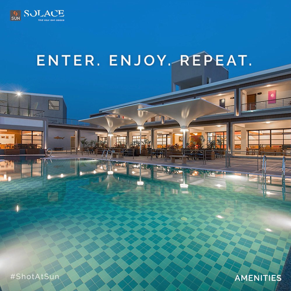 Indulge into a luxurious escape full of choices at Sun Solace. A rejuvenating landscape with the finest amenities, encompassing 3 full-fledged Club Houses Swimming Pool with Table Tennis, Billiards, Gym, Min--Theatre, Multi-purpose Court and much more.  Bookings are open for Plots and Villas. For Details Call: +91 99789 32062  #SunBuildersGroup #SunBuilders #SunSolace #WeekendHome #Sanand #Nalsarovar #BuildingCommunities #RealEstateAhmedabad