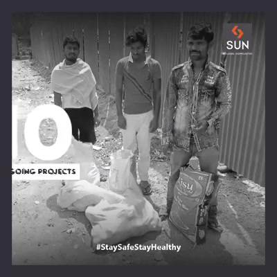 We truly believe the Onsite Labourers are the real gems and also the core strength of our company. So we are trying to help our people during the difficult times and unfavourable situations in every possible manner.  #StaySafeStayHealthy #SunBuildersGroup #Ahmedabad #Gujarat #RealEstate