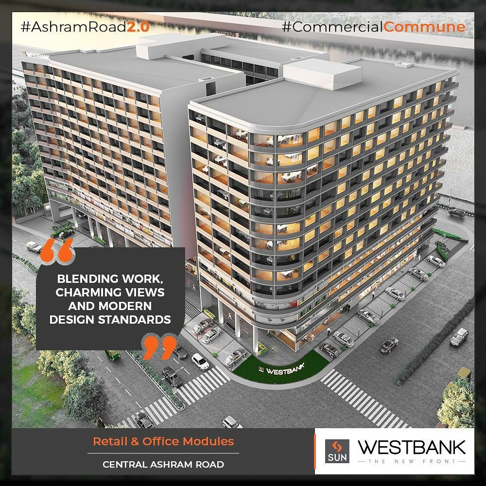 The perfect blend of work, charming views & modern design standards all meant to be the perfect destination for the enterprising entrepreneurs!  #SunBuilders #RealEstate #WestBank #SunWestBank #Ahmedabad #Gujarat #SunBuildersGroup #AshramRoad2point0 #commercialcommune #ComingSoon #NewProject