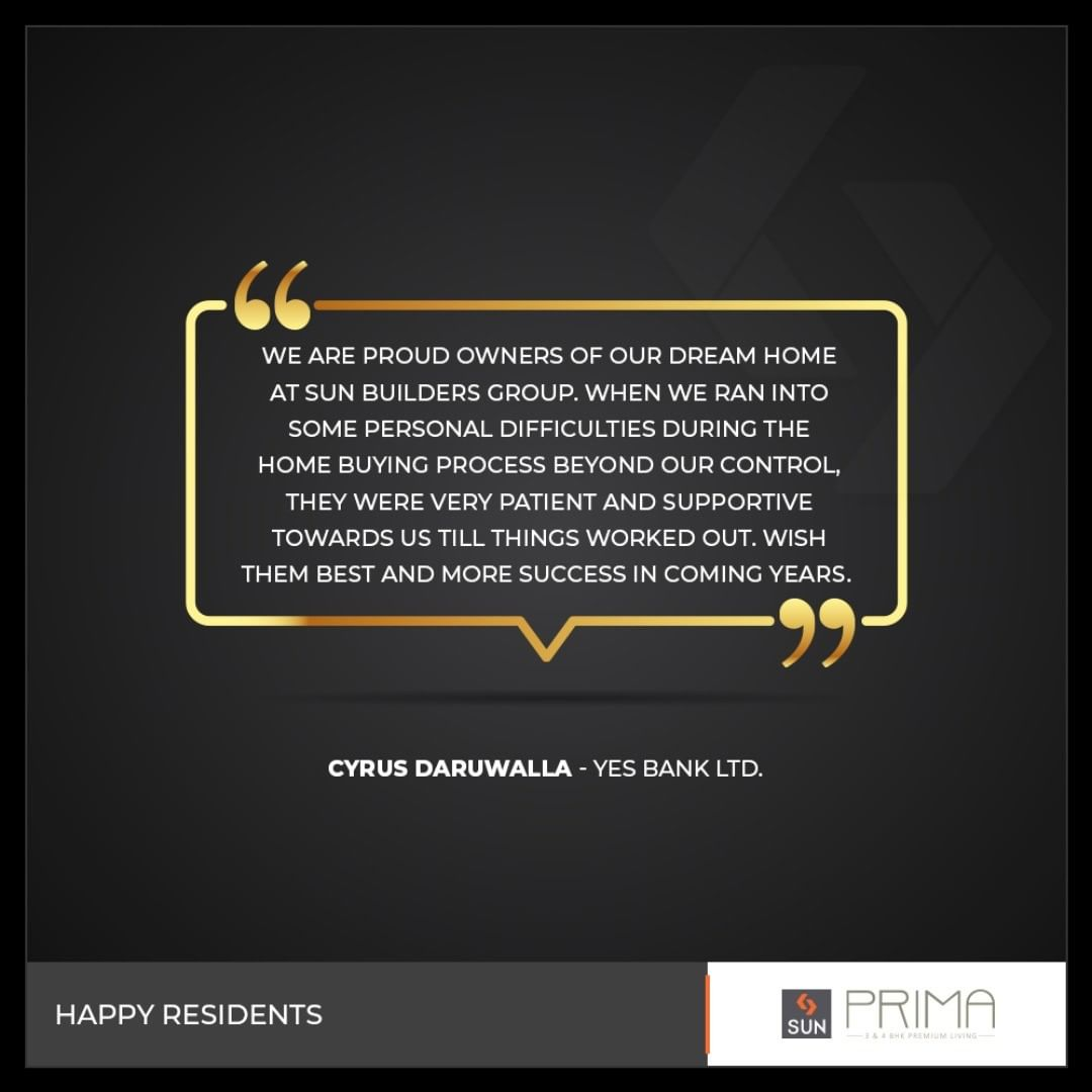 It's a great assurance when we hear back from our �happy residents!  #SunBuildersGroup #SunBuilders #RealEstate #Ahmedabad #RealEstateGujarat #Gujarat