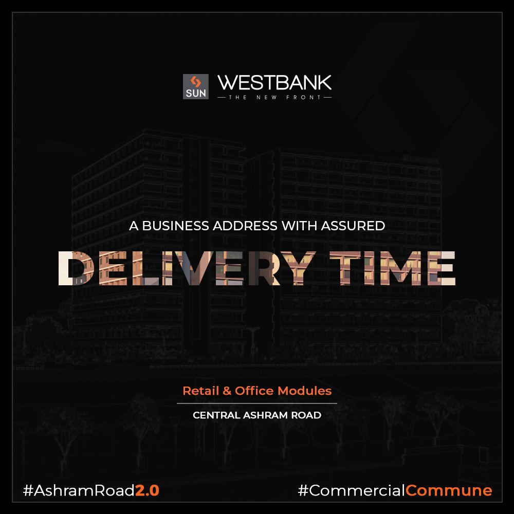 "We commit to building long term value by understanding the importance of ""TIME"" & hence adhere to assured project delivery time.  #SunBuilders #RealEstate #WestBank #SunWestBank #Ahmedabad #Gujarat #SunBuildersGroup #AshramRoad2point0 #commercialcommune #ComingSoon #NewProject https://t.co/WckFstBX1G"