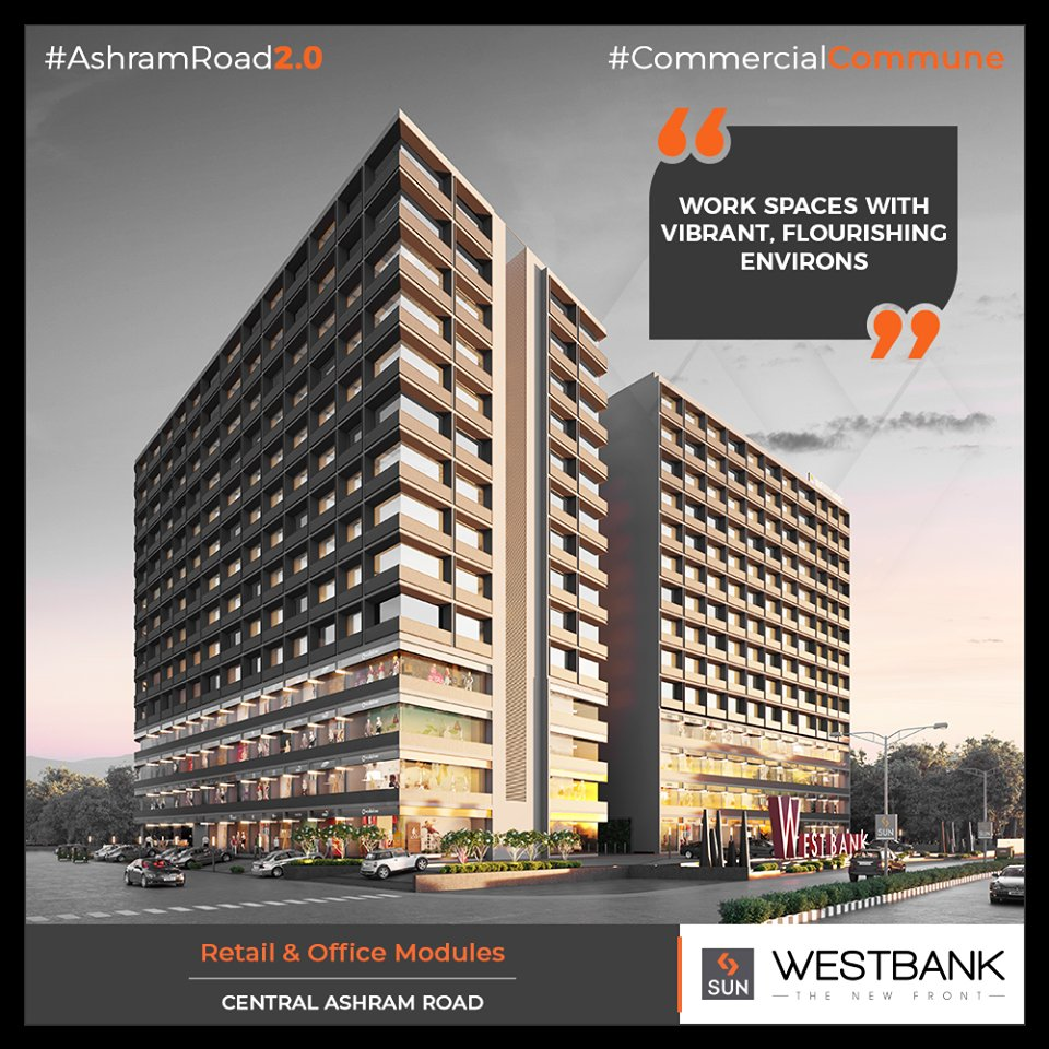 Westbank promises to be the next generation flourishing work environment!  #SunBuilders #RealEstate #WestBank #SunWestBank #Ahmedabad #Gujarat #SunBuildersGroup #AshramRoad2point0 #commercialcommune #ComingSoon #NewProject https://t.co/fQuMxbDGVC