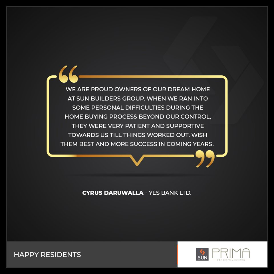 It's a great assurance when we hear back from our happy residents!  #SunBuildersGroup #SunBuilders #RealEstate #Ahmedabad #RealEstateGujarat #Gujarat https://t.co/aEXyf0sNVs